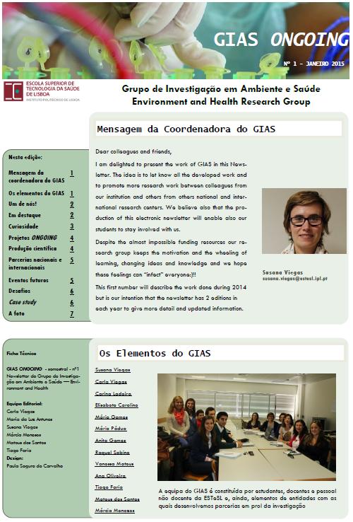 Newsletter do Grupo de Investigação Ambiente e Saúde (GIAS), GIAS Ongoing