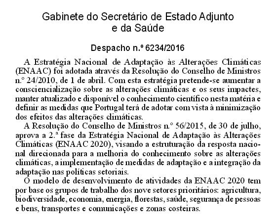 Estratégia Nacional de Adaptação às Alterações Climáticas (ENAAC) e as competências na área da Saúde