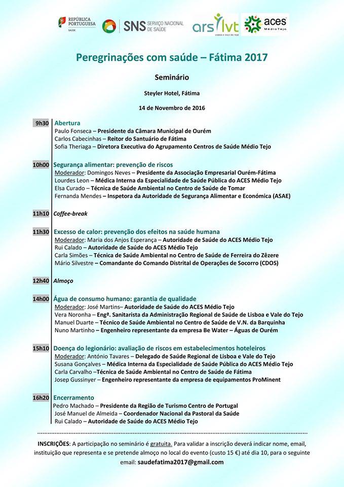 """Seminário """"Peregrinações com Saúde - Fátima 2017"""""""