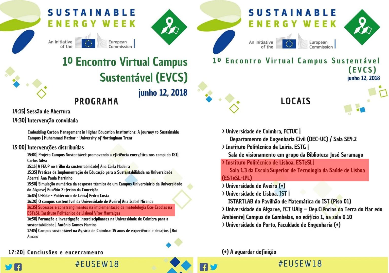 Encontro Virtual Campus Sustentável (EVCS) na ESTeSL