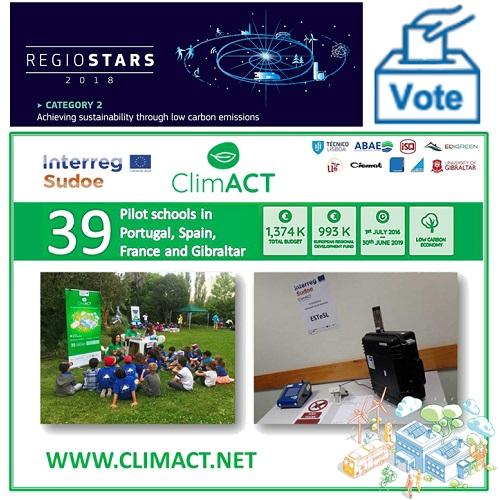 O projeto ClimACT é finalista dos RegioStars Awards 2018... VOTA!
